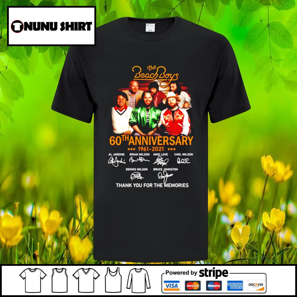 The Beach Boys 60th anniversary 1961-2021 thank you for the memories t-shirt