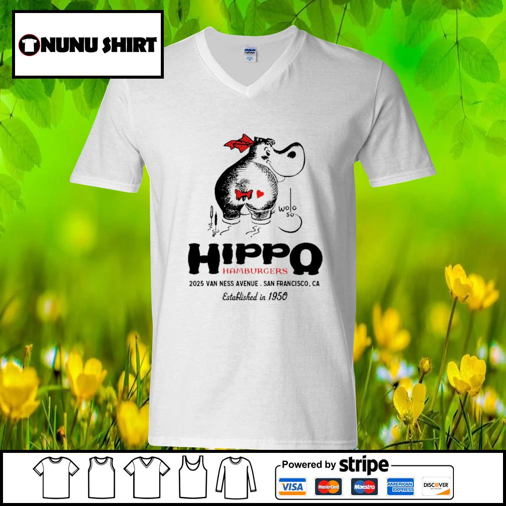 Hippo hamburgers 2025 van ness avenue San Francisco s v-neck t-shirt