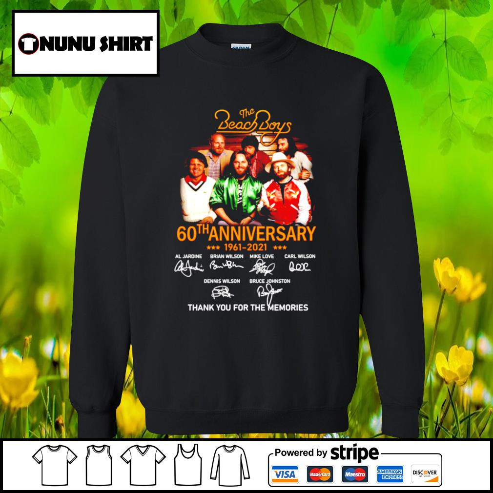 The Beach Boys 60th anniversary 1961-2021 thank you for the memories t-s sweater