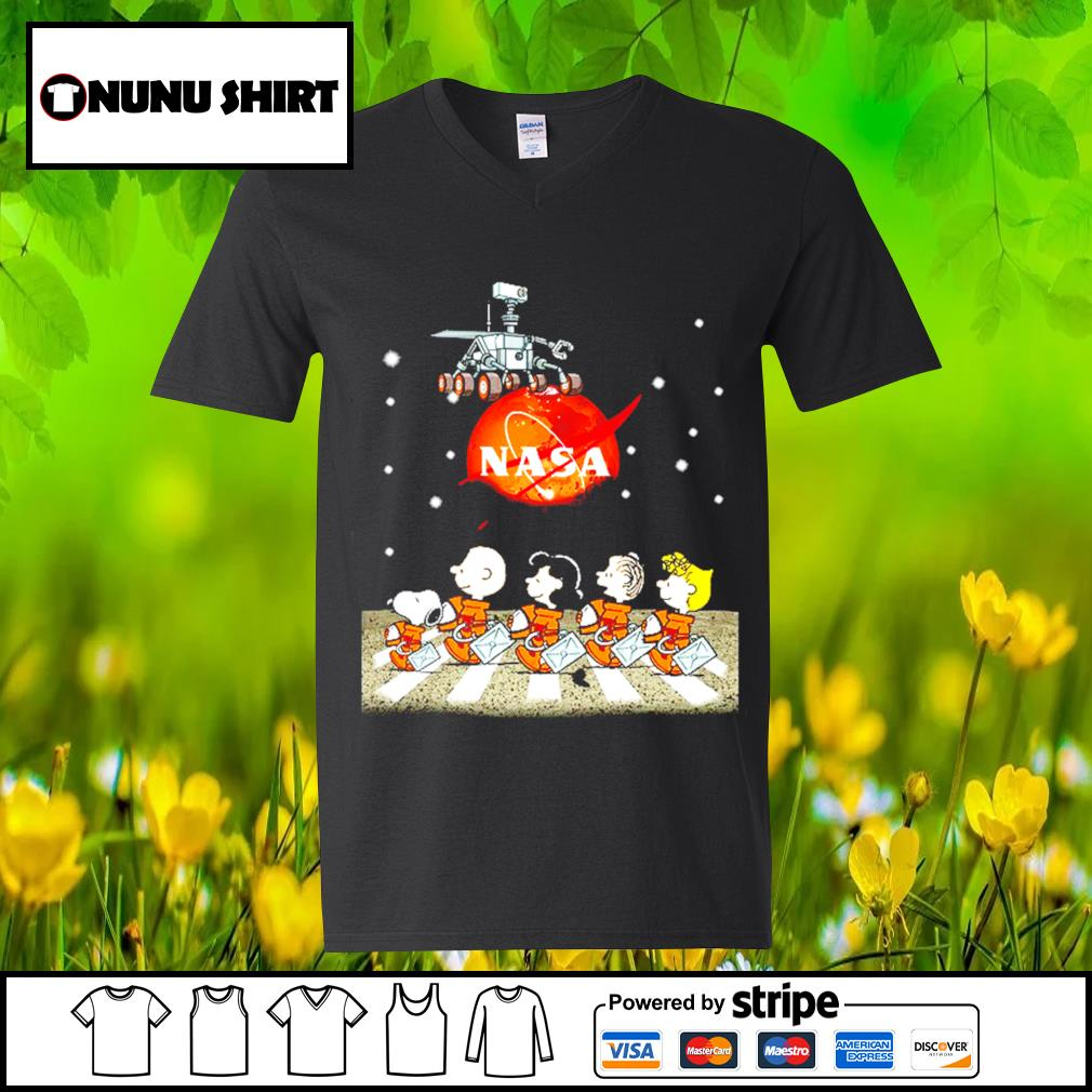NASA Snoopy and friends Abbey Road s v-neck t-shirt