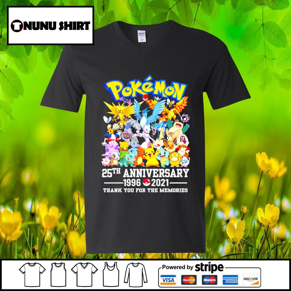 Pokemon 25th anniversary 1996-2021 thank you for the memories t-s v-neck t-shirt