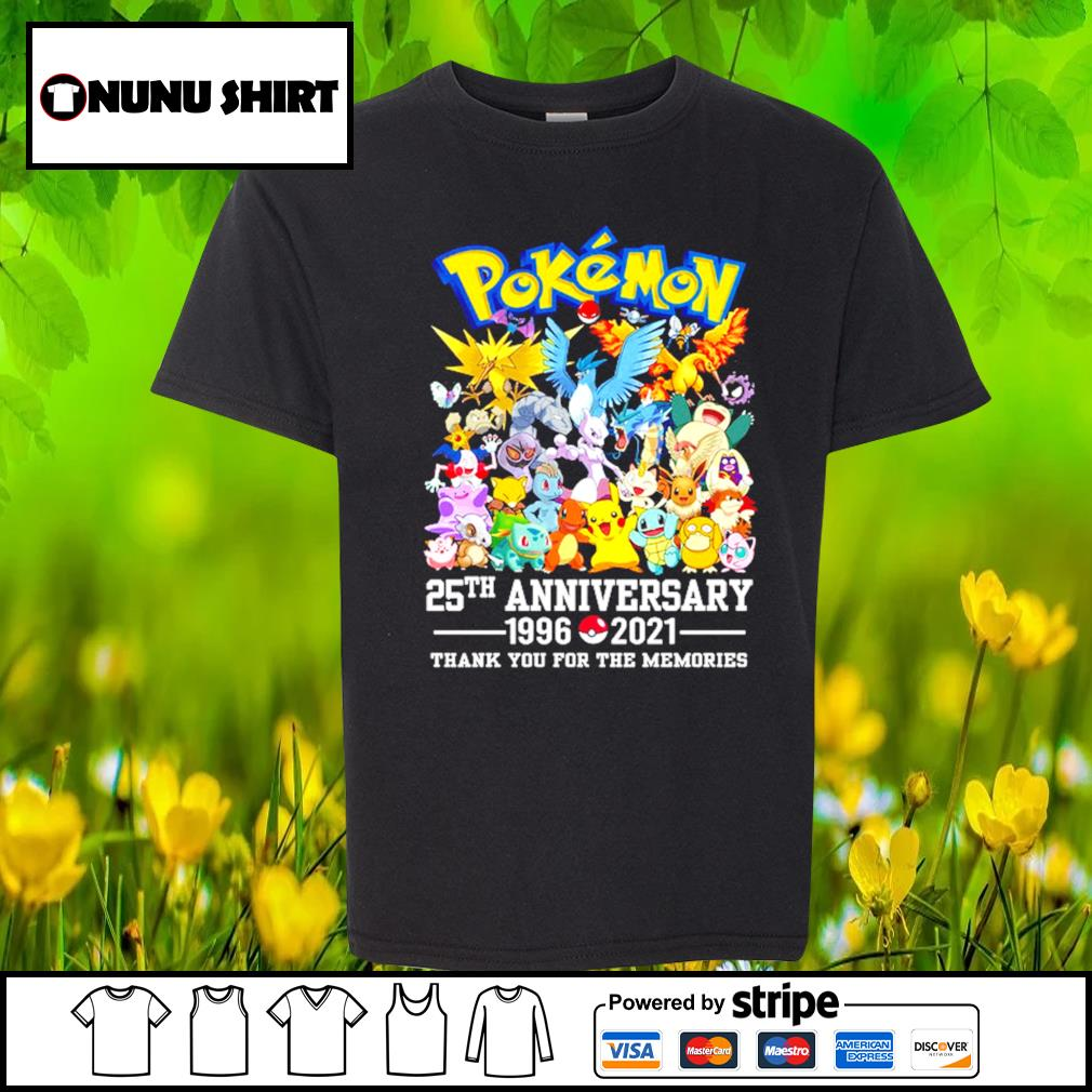 Pokemon 25th anniversary 1996-2021 thank you for the memories t-s youth-shirt