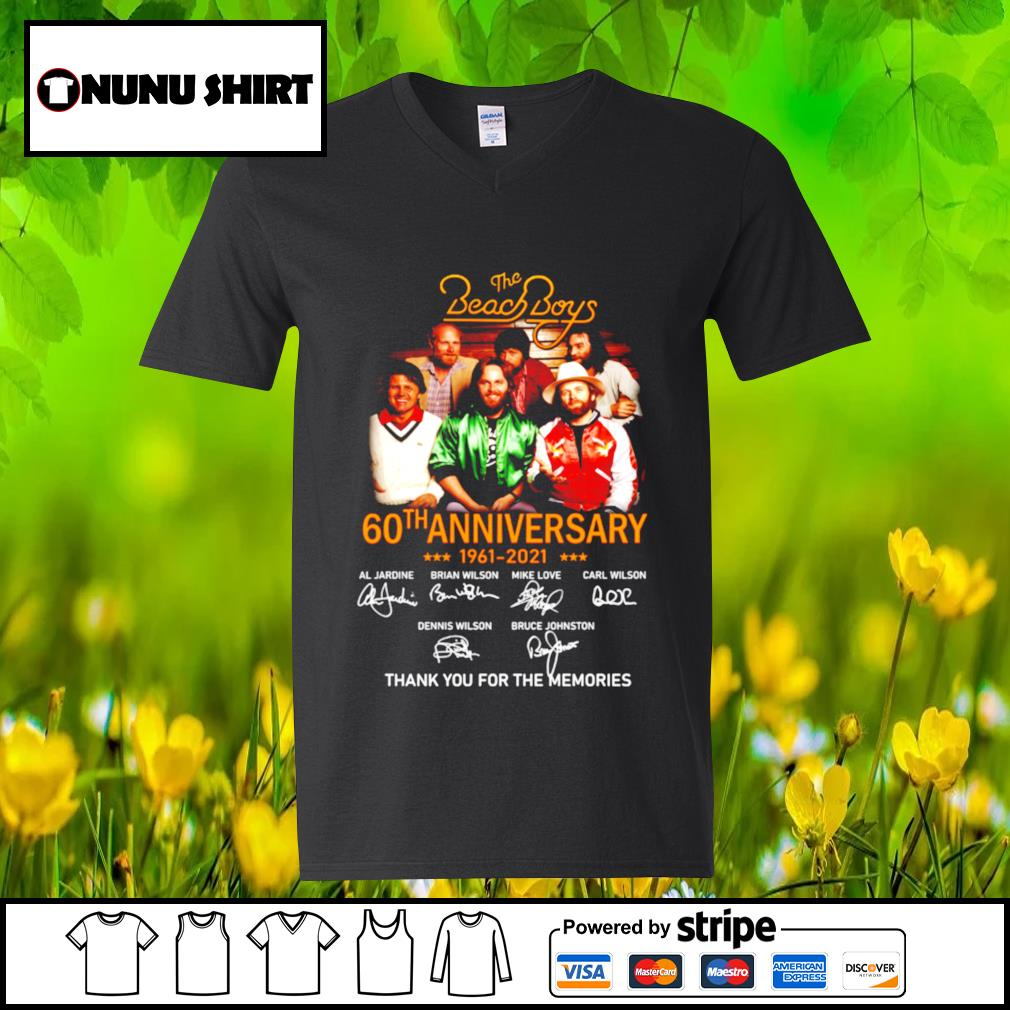The Beach Boys 60th anniversary 1961-2021 thank you for the memories t-s v-neck t-shirt