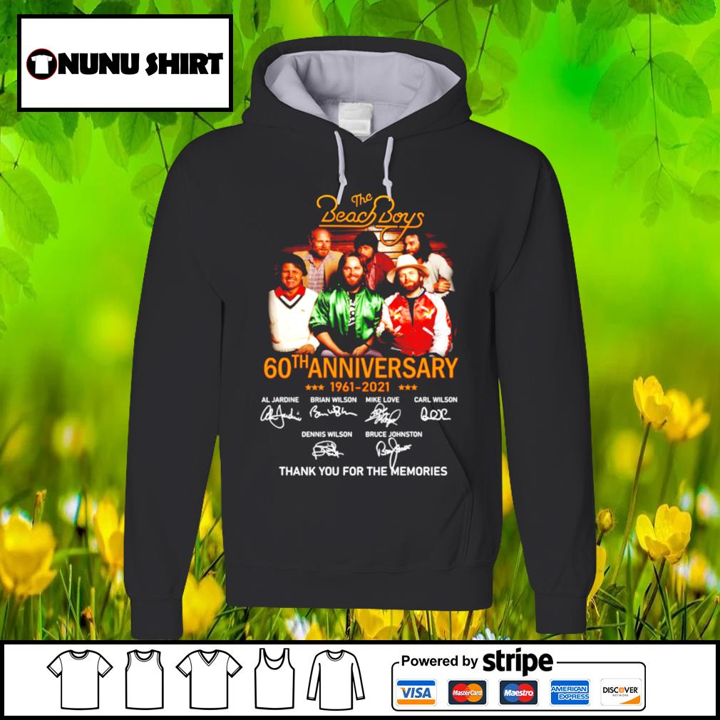 The Beach Boys 60th anniversary 1961-2021 thank you for the memories t-s hoodie