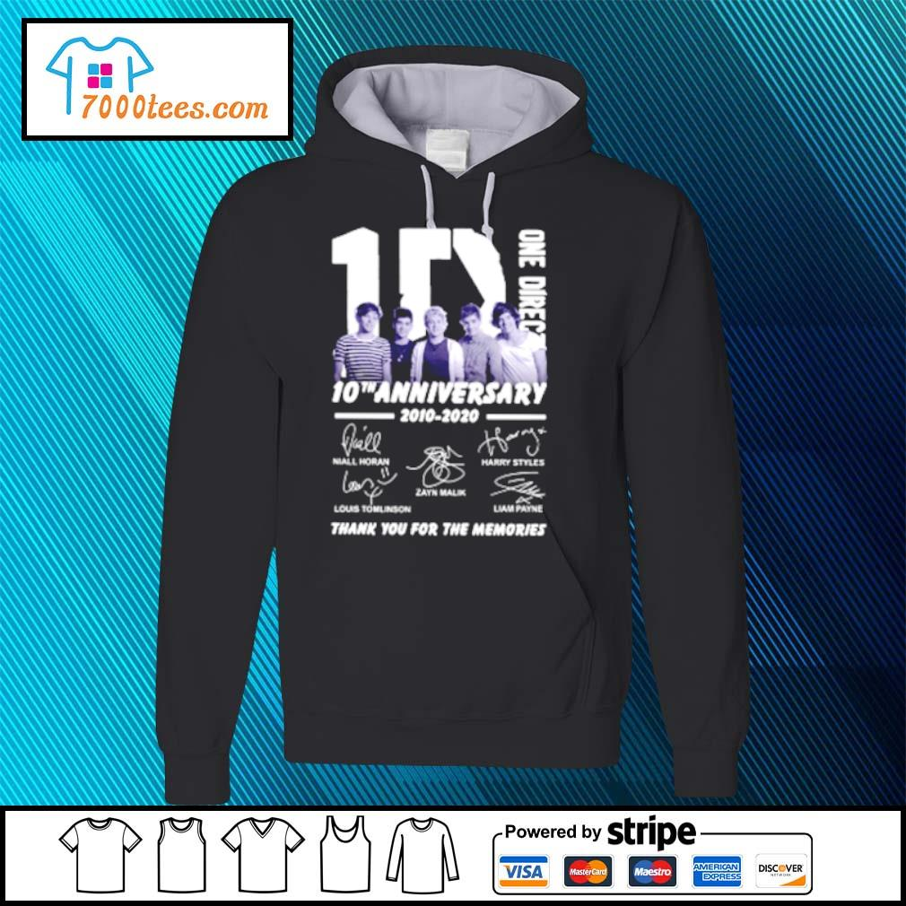 One Direction 10th Anniversary 2010 2020 Thank You For The Memories Signatures Shirt hoodie
