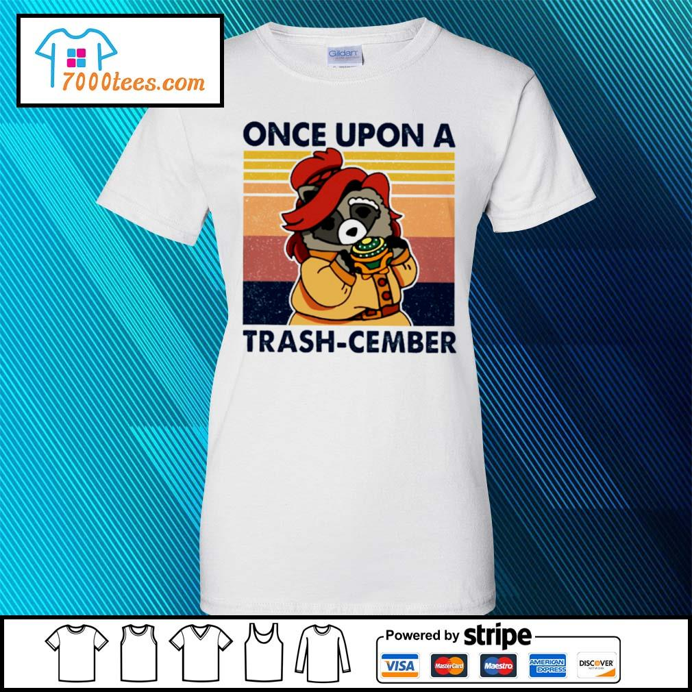 Retro Navy Once Upon A Trash Cember Raccoon Classic T-Shirt ladies tee