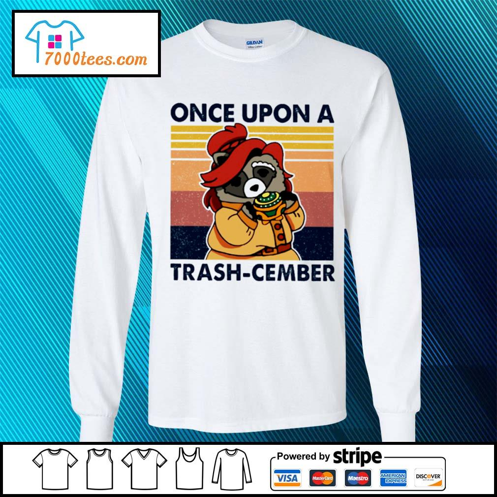 Retro Navy Once Upon A Trash Cember Raccoon Classic T-Shirt longsleeve-tee