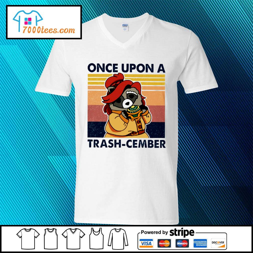 Retro Navy Once Upon A Trash Cember Raccoon Classic T-Shirt v-neck-t-shirt