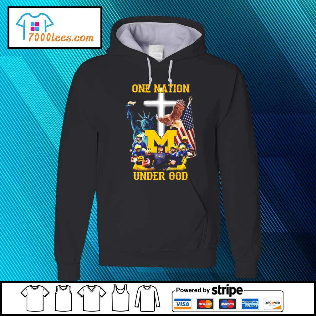 American Flag Michigan Wolverines one nation under God s hoodie