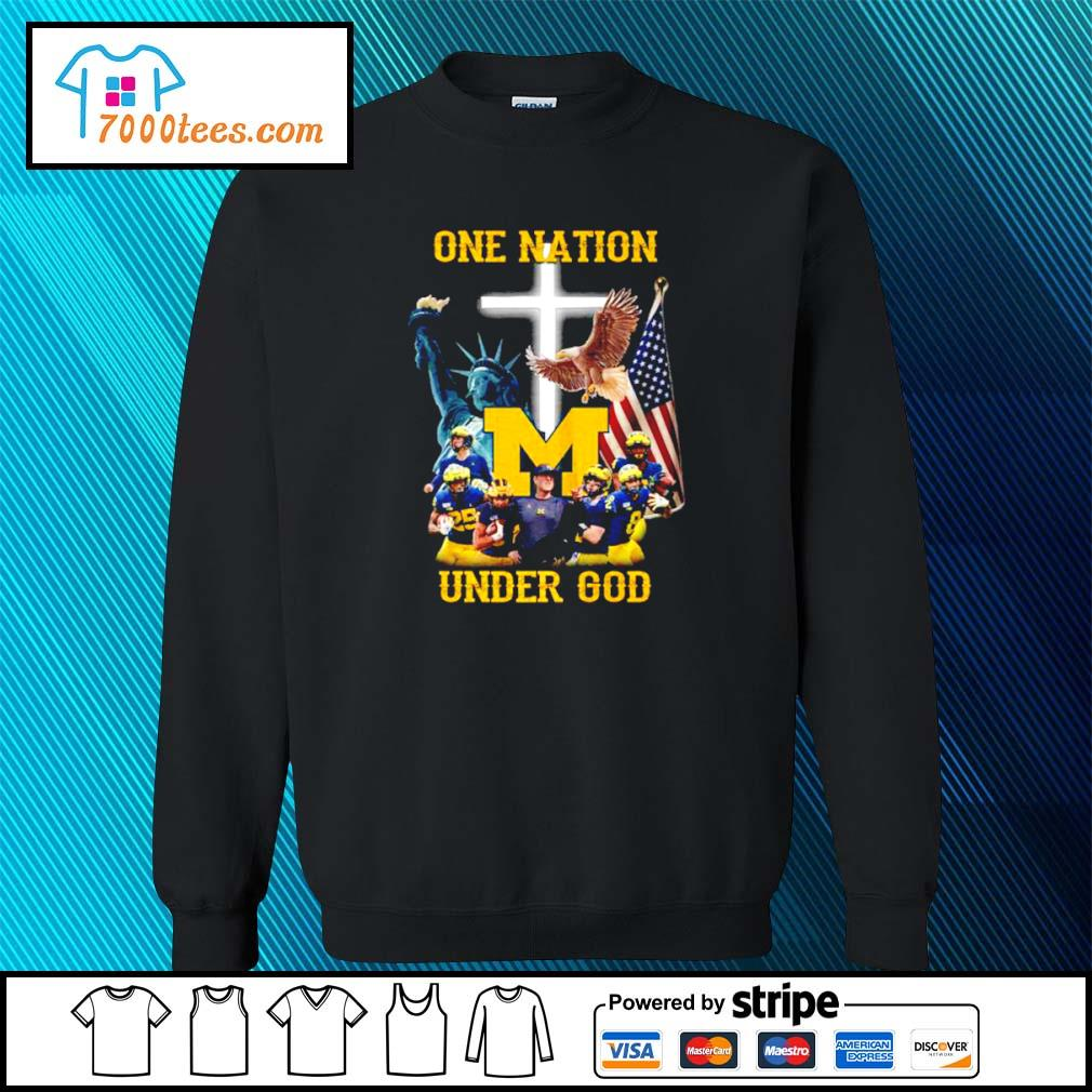 American Flag Michigan Wolverines one nation under God s sweater