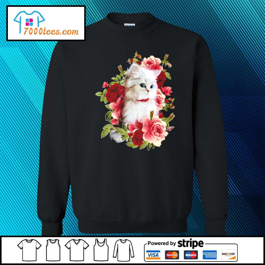 Cat and roses s sweater
