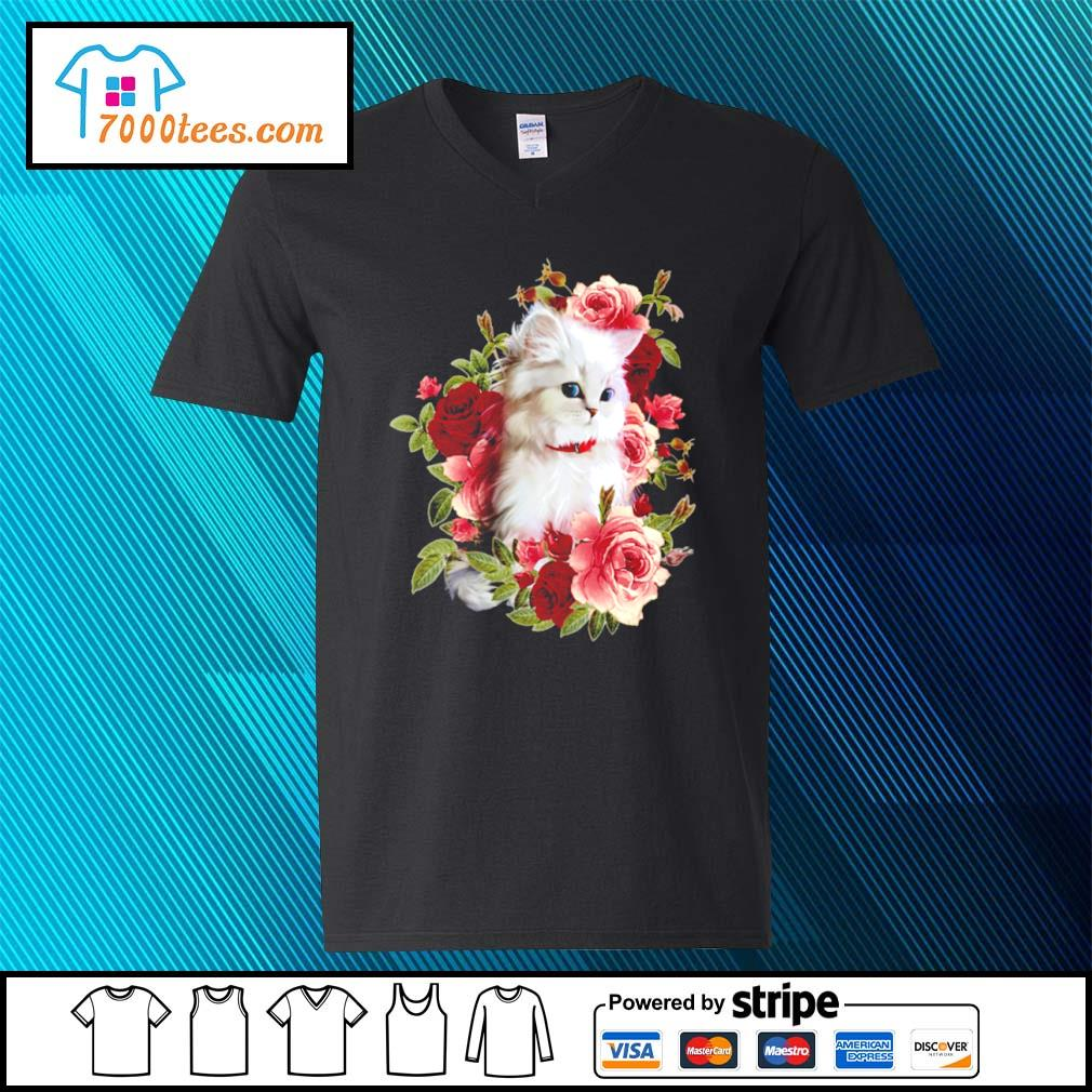 Cat and roses s v-neck-t-shirt