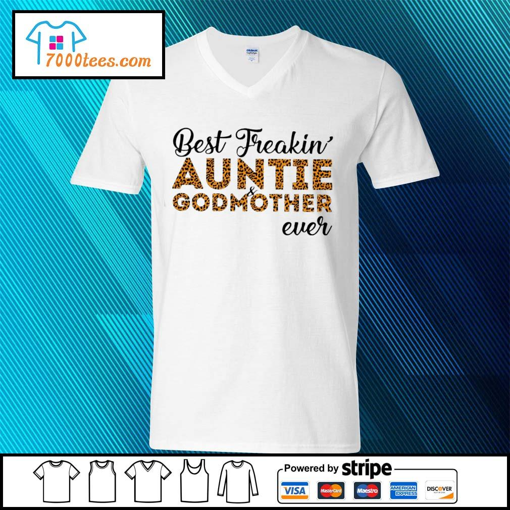 Leopard best freakin auntie and godmother ever s v-neck-t-shirt