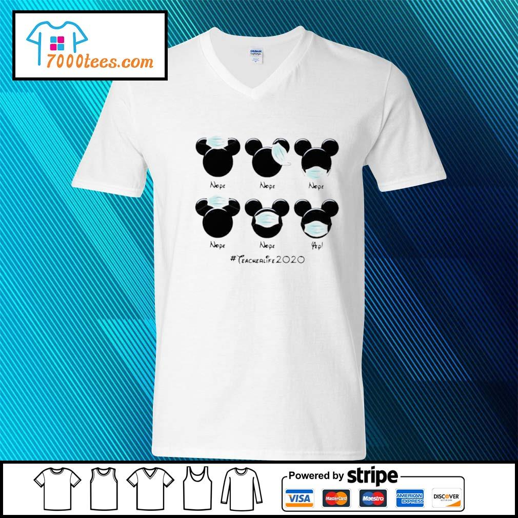 Mickey Mouse Face Mask #teacherlife2020 Shirt v-neck-t-shirt