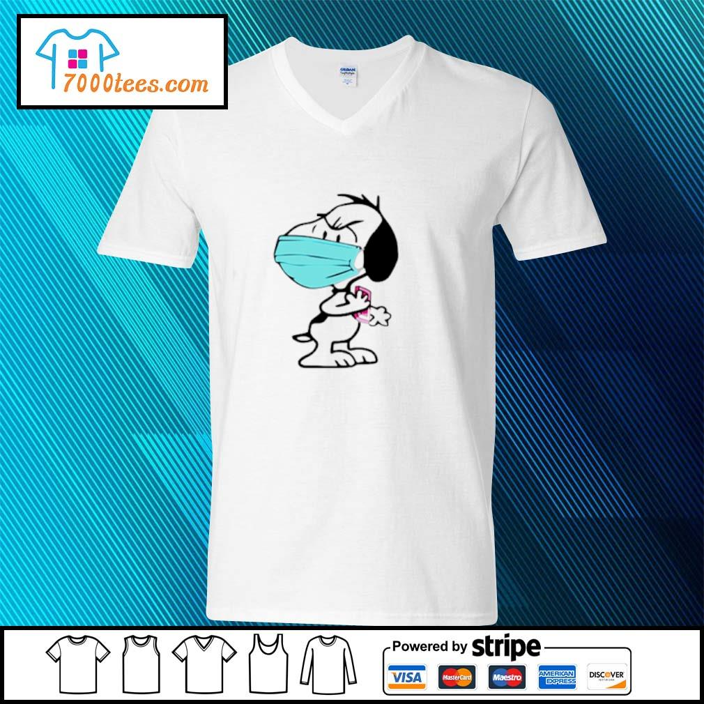 Snoppy face mask angry s v-neck-t-shirt